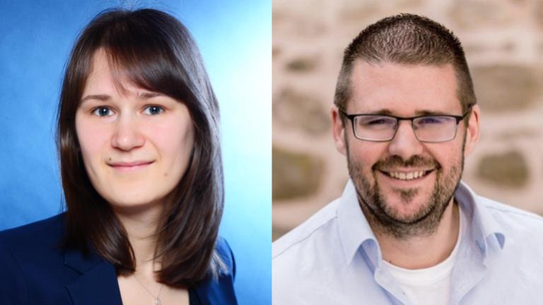 Zu sehen sind Porträts von Elisabeth Engl und Christian Reul, den Gästen dieser Podcast-Folge. #DigitalHumanities #OCR